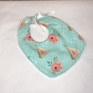 Teepee and Floral Baby Bib
